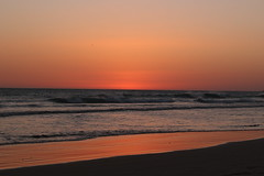 Beach. (PLOphotos) Tags: summer sand spain beach sunset sun water sea special day reflections canon camera orange