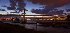 Across The Fraser (Clayton Perry Photoworks) Tags: vancouver bc canada summer explorebc explorecanada panorama bridge skytrain translink train canadaline richmond night lights