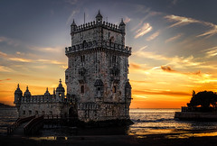 Sunset in Lisbon (Inge Vautrin Photography) Tags: torredebelm torre belm lisboa lisbon portugal europa europe sunset mood architecture symbol iconic beautiful view sky orange tagusriver city outdoor outdoors outside river tourism travel urban
