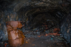 14 Musty old Cave (daedmike) Tags: cave dereliction tunnel abandoned scotland peebles lothian neidpath rusty rusted oildrum rubbish hole garbage