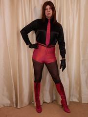 Red or Black. 2 (Karen Brent) Tags: transvestite crossdresser tgirl boots highheels stilettos shorts satin spandex discoshorts discopants leather tights shirt