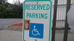 Reserved for Kosmo (Randall 667) Tags: rhode island kosmo handicapped parking graffiti street art sticker slap kramer seinfeld painting