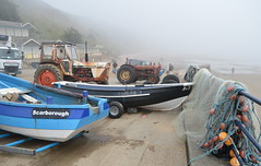 Misty Coast (dhcomet) Tags: yorkshire filey boat net fishing sea fog visibility tractor