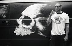 Rag & Bone (Magnus Bergstrm) Tags: canonae1 canon ae1 analog bw blackwhite blackandwhite kodak kodaktmax100 kodaktmax tmy 100tmx sweden sverige grums hembygdsgrd vrmland portrait van skull glasses beard beer johjon00