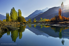 Phandar Valley. (Mountain Photographer) Tags: autumn pakistan mountain mountains reflection tree river peak peaks hunza phandarvalley gupis alttitude rizwansaddique northranareapakistan gilgatbaltistan highalttitude