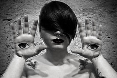 Unn'aviemu mancu chiu l'uocchi ppi chianciri (Sarah Cinescah) Tags: bw white selfportrait black eye hair blind nihilism selfie crisi