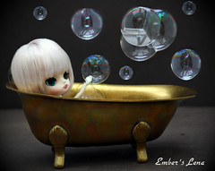 Lena in the bath (pure_embers) Tags: uk cute girl dark bath doll dolls little dal bubbles mini pullip humpty dumpty pure embers