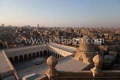 Egypt. Cairo - AL Muyyad - Mu'ayyad - mosque. the old city view from the minaret of Bab Zuwayla gate,  old islamic  Cairo  NM199 (setboun photos) Tags: africa city roof panorama skyline architecture town cityscape view outdoor minaret muslim islam religion egypt middleeast nobody nopeople courtyard mosque cairo mausoleum dome mosquee capitale toit vue espace ville egypte islamic tombe islamicarchitecture afrique viewfromabove islamicart religiousart coupole cairomosques placeofworship musulman capitalcity mausolee exterieur artreligieux vuedenhaut grandespace religiousarchitecture moyenorient lecaire highangleview architecturereligieuse elevatedview aglomeration arabcountry lieudeculte urbanvista aucunepersonne largespace artislamique religionmusulmane paysagedeville panoramadeville paysarabe almuyyadmosque
