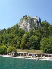 Bled Castle from lake Bled (taudorf) Tags: castle water slovenia creativecommons bled interrail 2011 olympustough