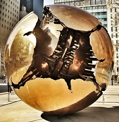 'Sphere within Sphere' by Arnaldo Pomodoro (StartTheDay) Tags: nyc travel urban sculpture usa sun holiday newyork color colour reflection art architecture bronze america globe artist sony un photograph sphere round safe amateur pomodoro 2012 arnaldopomodoro arnaldo sonyalpha alpha500 sonydslr500