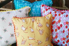 Pillow Backs (Fresh Lemons : Faith) Tags: pillow logcabin fabric childrenatplay whimsical ricrac improvisational heatherross quiltedpillow sarahjanestudios modernquilting straightlinequilting diagonalquilting wavequilting randomquilting