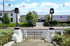 Art Deco Entrance of the Firestone Building (now Demolished) (Maxwell Hamilton) Tags: gate entrance artdeco lantern a4 brentford greatwestroad brentforda4