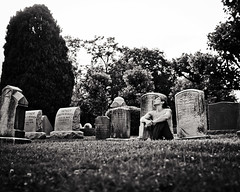 Baby, sing with me somehow   161/366 (sadandbeautiful (Sarah)) Tags: portrait bw woman selfportrait philadelphia me cemetery female self day161 366days