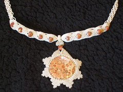 sun piece finished (ARTISANPRODUCTIONS) Tags: etsy macrame makrame leopardjasper sunpendant macramenecklace sunpiecefinished makramenecklace dijesol