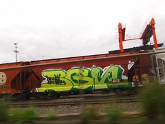 BGN (FatFuckN/W) Tags: railroad white green art yellow oregon burlington port train bench portland graffiti graphics paint nw track northwest rr pdx fe dope northern hopper freight bnsf 503 sante bgn grainer krino