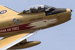 "North American F-86 Mk5 Sabre Jet ""Golden Hawks"" (Norman Graf) Tags: canada plane airplane fighter aircraft jet sabre warbird koreanwar rcaf goldenhawks f86 northamerican royalcanadianairforce sabrejet hamiltonairshow cgsbr f86mk5"
