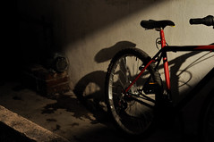 Night bicycle (~eloise~) Tags: light shadow red luz bike bicycle mxico night mexico noche rojo lowlight mexicocity df availablelight dramatic bicicleta sombra bici roja distritofederal ciudaddemxico pocaluz