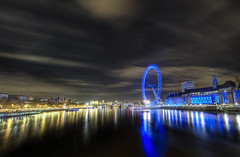 Gold and blue (odin's_raven) Tags: lighting city uk longexposure nightphotography travel bridge light england sky urban colour reflection building london english water westminster thames skyline architecture night clouds skyscraper photoshop river landscape geotagged photography lights photo high nikon long exposure cityscape colours skyscrapers nightshot dynamic metro britain south capital central trails londoneye millenium wideangle milleniumwheel victoria southbank waterloo photograph nights british lighttrails nikkor scape range riverthames whitehall hdr highdynamicrange cityoflondon photorealism postprocessing photomatix nikor 1424 odins d700 1424mm odinsraven