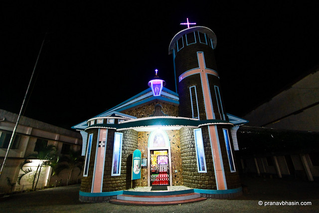Magnificent Church At Night  in Thekkady, Kerala