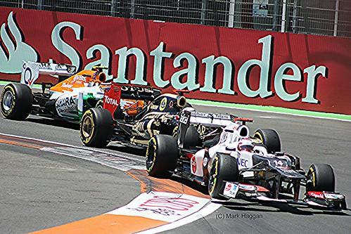 Kamui Kobayashi, Kimi Raikkonen and Nico Hulkenberg during the 2012 European Grand Prix in Valencia