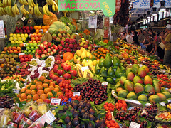 local fruit stand (scott1346) Tags: red orange green colors yellow fruit purple marketplace 1001nights thegalaxy ringexcellence