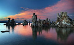 Mono Lake Ignition (gavgristle) Tags: california longexposure sunset seascape beach water clouds reflections landscape rocks tide lakes monolake sierranevada leevining explored tufamounds