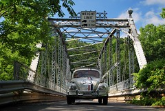Herbie at Town Bridge, Collinsville, CT (63vwdriver) Tags: bridge berlin vw vintage bug volkswagen iron connecticut beetle ct company endangered canton herbie 1964 collinsville truss