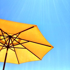 sunny (Janine Graf) Tags: cameraphone california camera summer 6x6 yellow umbrella sunny janine1968 iphone4s janinegraf