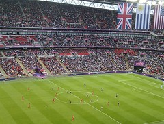 Great Britain 3-1 United Arab Emirates (The Puzzler) Tags: greatbritain london football soccer crowd uae flags gb pitch fans players olympics spectators unitedarabemirates supporters wembleystadium olympicgames london2012 teamgb