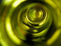 empty wine bottle 2 (HansHolt) Tags: macro reflection green glass yellow neck bottle groen wine empty bottom dry tunnel alcohol base glas hals prosecco reflectie leeg wijnfles bodem