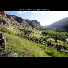 Ten Sleep Canyon ... view along the river (mariola aga) Tags: wyoming tensleepcanyon canyon gorge cliffs slope river riverbed green trees grass sunlight highway roadside square thegalaxy coth supershot damn thesunshinegroup coth5 sunrays5