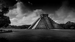 Chichen Itza (Ed Blazejewski) Tags: bw white black clouds mexico amazing ancient pyramid maya drama anseladams chickenitza
