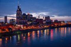 Blue hour in Nashville (Jim Nix / Nomadic Pursuits) Tags: aurorahdrpro jimnix lightroom macphun nashville nomadicpursuits shelbystreetpedestrianbridge tennessee bluehour photography skyline travel