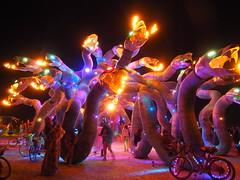Madusa Madness (michicat) Tags: burningman brc blackrockcity playa nevada burningmanatnight fireart