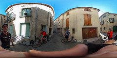 Ready for Mont Ventoux climb (PaulHoo) Tags: sferical 360 ricoh theta s malaucene france architecture bike race friends people mont ventoux active sports fun cycling bicycle sun