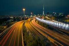 Spaghetti Junction I (ⓨⓥⓔⓢ) Tags: oceania night newzealand road spaghettijunction tower car tranportation nightlight cityscape northisland headlights auckland lighttrail