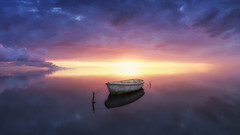 Bay of Colors (Ral Podadera Sanz) Tags: bay bahia delta agua sea mar water reflejos color colors amanecer atardecert sunrise sunset red blue cloud spain catalonia catalunya deltadelebro barca boat abandoned levitation levitacion panorama panoramic paonoramica calm calma nubes wow