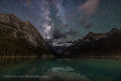 The Milky Way over Lake Louise #1 (Amazing Sky Photography) Tags: banffnationalpark lakelouise milkyway victoriaglacier continentaldivide darksky lightpollution nightsky reflection stars