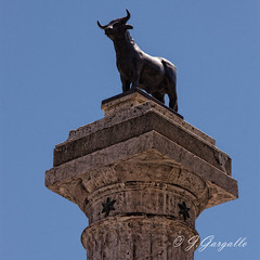 El Torico ms grande (J.Gargallo) Tags: torico toro teruel aragn espaa spain fuente columna azul cielo canon canon450d canonefs18200 eos eos450d 450d