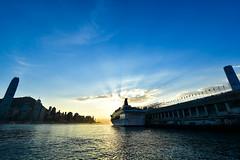Victoria Harbour, Hong Kong (philipchan32866) Tags: victoria harbour evening sunset hong kong hk hkg ferry water summer warm warmth brightness blue golden buildings urban city centre pier cruise cloud sky skyline