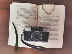 just found my dad's old camera  () Tags: aesthete beigeaesthetic inlove myview expressingmyself mystuff 80s pearls reading olympusphotography olympus oldbutgold book vintage retro classic elegance