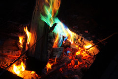 Tainted Fire (SargentSail Photography) Tags: fire color camp blaze green orange packets chemical fun wood burn flame