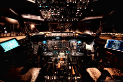 Fly By Night (Jonathan Tasler) Tags: boeing737 737400 cockpit airplane lights switches controls airport newark wideangle
