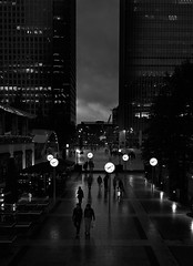 untitled (ChrisRSouthland) Tags: monochrome bw blackandwhite mmonochrom leica elmarit28mmf28 london evening darkness cityscape clocks wet reflections synchronicity time
