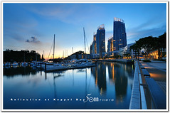 Reflections at Keppel Bay Condominium - sunset view (fiftymm99) Tags: bridge blue sea sky house reflection building water marina river bay boat nikon marine singapore ship waterfront boardwalk connection keppel fiftymm nikond300 fiftymm99 gettyimagessingaporeq2 reflectionsatkeppelbaycondominium