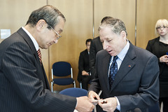 Hiroyuki Watanabe and Jean Todt at the Ministers' Roundtable