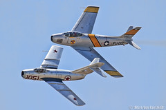 MiG-15 & F-86 (mvonraesfeld) Tags: show california ca museum airplane flying airport war fighter aircraft aviation military air jets formation airshow korean sabre russian usaf warbird 2012 chino cno f86 planesoffame mig15 northamerican pof img0121 kcno calaerofield
