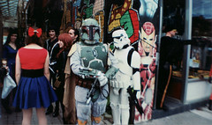 comic convention (ashlee hutchinson) Tags: film comics graffiti starwars lomo lomography convention stormtrooper bobafet lasardina