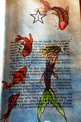 mermaid and koi (muishkas) Tags: bookart alteredjournal bookpages