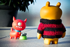 Uglyworld #1536 - Troublers Afoot (Project TW - Image 134-366) (www.bazpics.com) Tags: dog sun sunshine project outside foot spring warm balcony doug bowl trouble uglydoll 2012 uglydolls babo wage uglydog 366 afoot barryoneilphotography